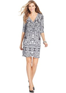 Style&co. Petite Printed Surplice-Neck A-Line Dress
