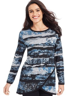 Style&co. Petite Printed Tulip-Front Sweater