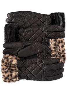 Style&co. Quilted Nylon Gloves with Faux Fur Cuffs