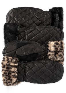 Style&co. Quilted Nylon Mittens with Faux Fur Cuffs