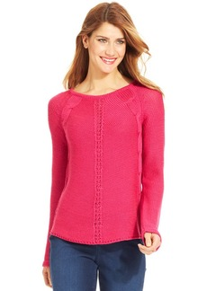 Style&co. Petite Raglan-Sleeve Cable-Knit Sweater