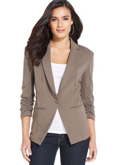 Style&co. Petite Ruched-Sleeve Single-Button Blazer
