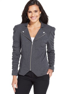 Style&co. Ruched-Sleeve Zip-Front Moto Jacket