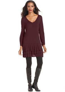Style&co. Ruffled Drop-Waist Sweater Tunic