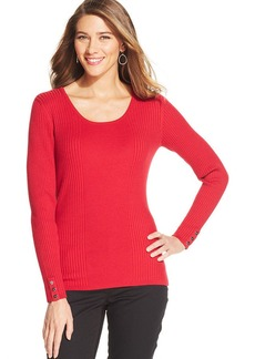 Style&co. Scoop-Neck Ribbed-Knit Top