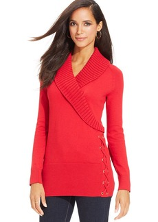 Style&co. Shawl-Collar Lace-Up Tunic Sweater