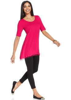 Style&co. Short-Sleeve Lace-Hem Tunic