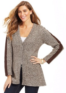 Style&co. Petite Marled Faux-Suede Cardigan