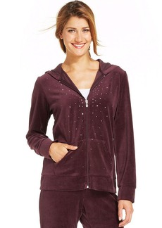 Style&co. Sport Embellished Zip-Front Velour Hoodie
