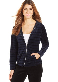Style&co. Sport Petite Striped Velour Hoodie