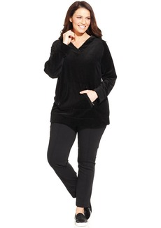 Style&co. Sport Plus Size Long-Sleeve Velour Hoodie