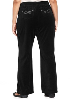Style&co. Sport Plus Size Rhinestone Velour Pants