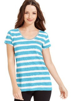 Style&co. Sport Short-Sleeve Striped Tee