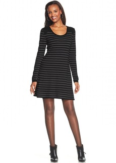 Style&co. Petite Striped A-Line Sweater Dress