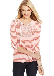 Style&co. Striped Embroidered Peasant Top