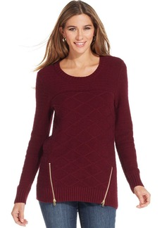 Style&co. Textured Exposed-Zipper Sweater
