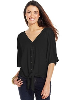 Style&co. Tie-Front Button-Down Top