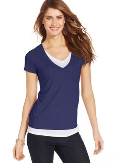 Style&co. Two-Tone Layered Tee