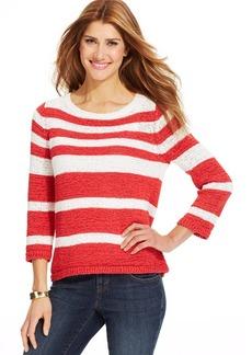 Style&co.Three-Quarter-Sleeve-Striped Sweater