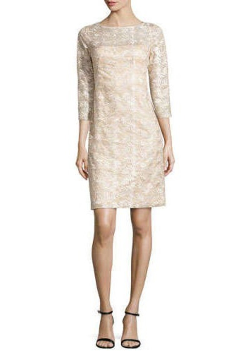 Sue wong sue wong 3 4 sleeve embroidered sheath dress 3 4 for Sue wong robes de mariage