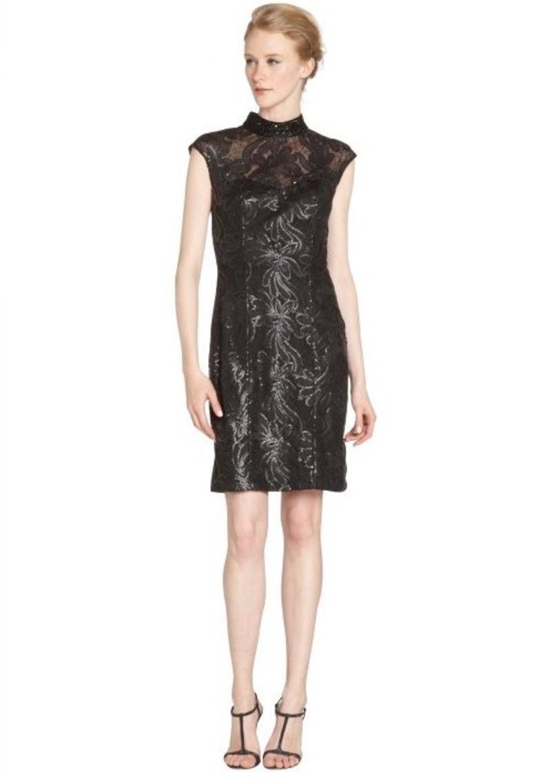 Sue wong sue wong black sequin detail cap sleeve high neck for Sue wong robes de mariage