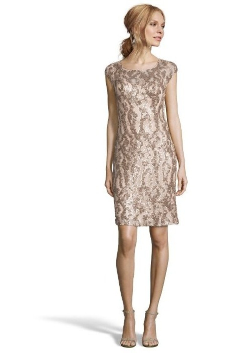 Sue wong sue wong champagne sequined illusion neck sheath for Sue wong robes de mariage