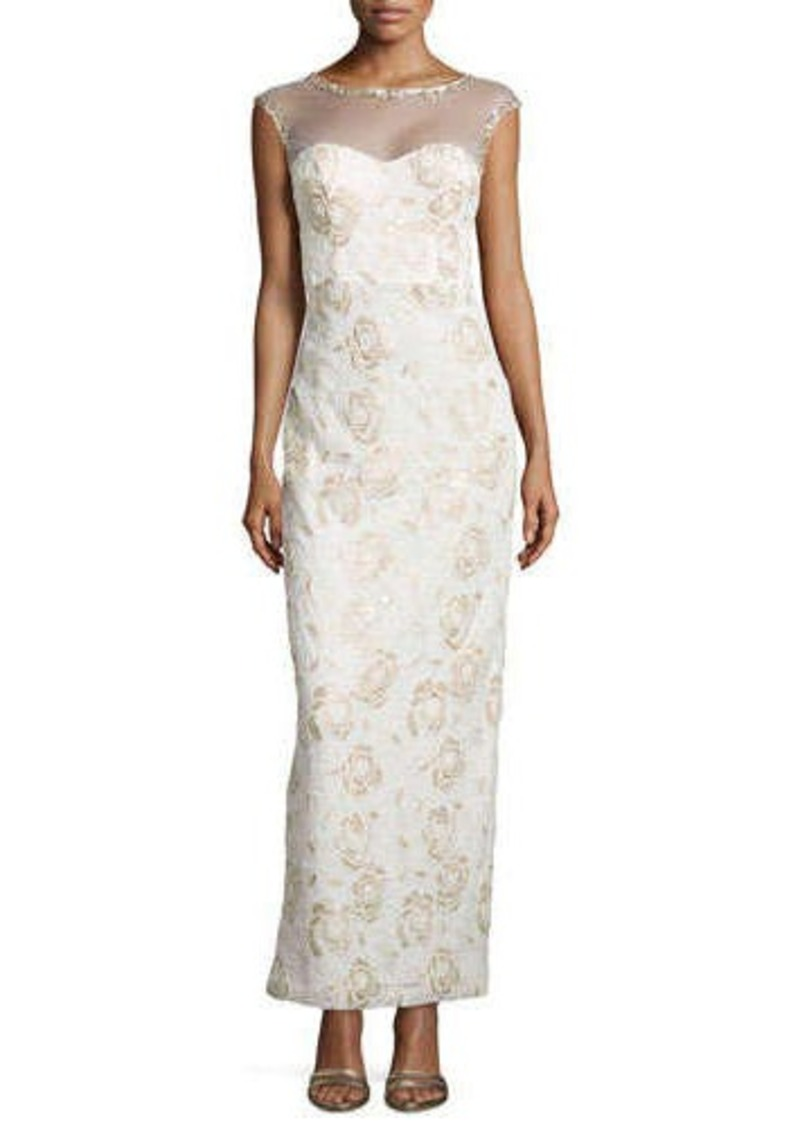 Sue wong sue wong floral embroidered illusion gown floral for Sue wong robes de mariage