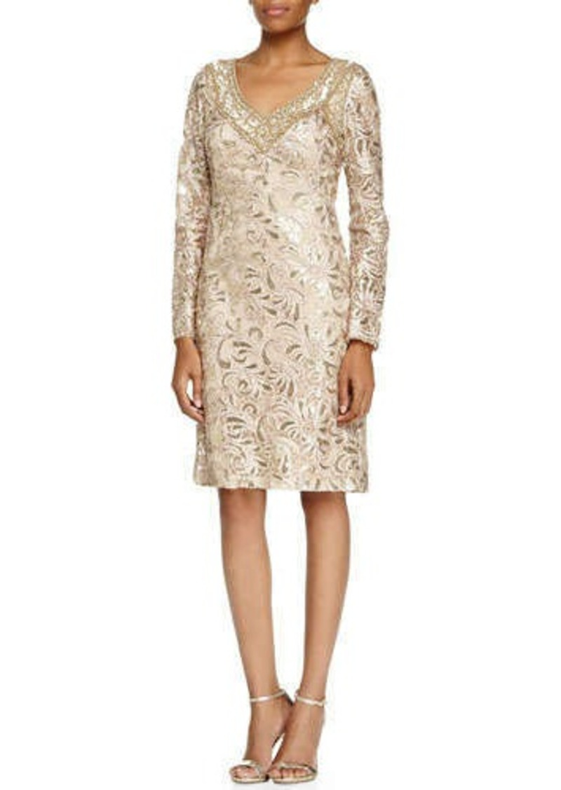 Sue wong sue wong long sleeve sequined lace cocktail dress for Sue wong robes de mariage