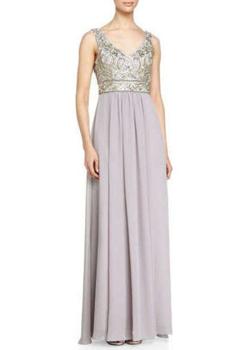 Sue wong sue wong sleeveless embroidered bodice chiffon for Sue wong robes de mariage