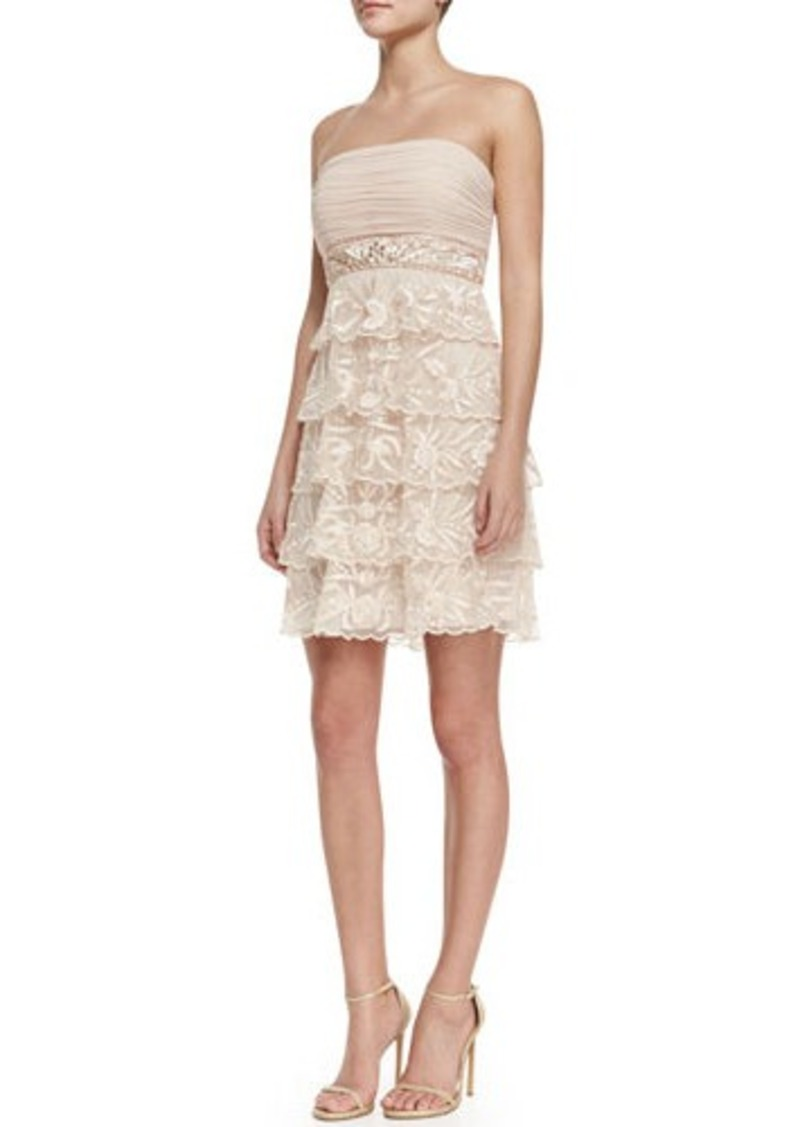 Sue wong sue wong strapless tiered lace cocktail dress for Sue wong robes de mariage
