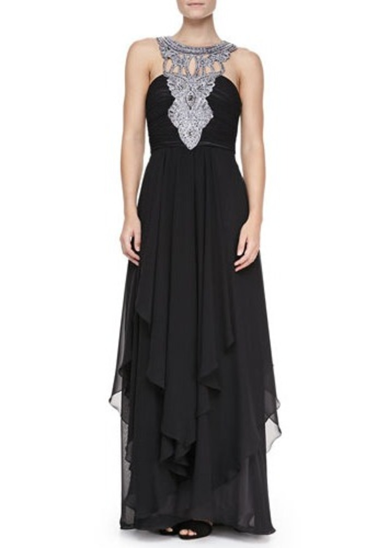 Sue wong sue wong tiered chiffon jewelry neck gown for Sue wong robes de mariage