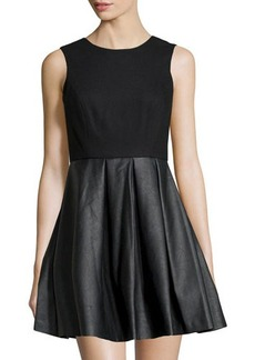 Susana Monaco Crepe & Faux Leather-Skirt Dress