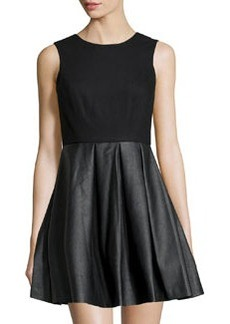 Susana Monaco Crepe & Faux Leather-Skirt Dress, Black