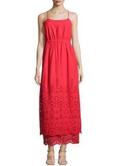 Susana Monaco Eyelet Sleeveless Maxi Dress, Radish
