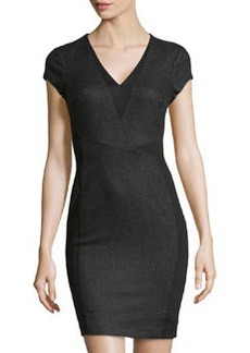 Susana Monaco Felt & Knit V-Neck Dress, Granite