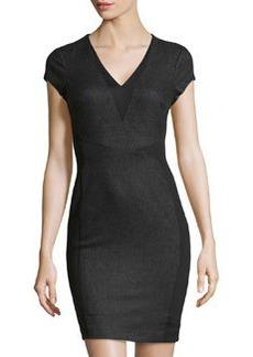 Susana Monaco Felt & Knit V-Neck Dress, Granite