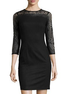 Susana Monaco Felt Faux Leather-Detail Dress, Black