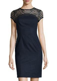 Susana Monaco Felt Faux-Leather Yoke Dress, Midnight