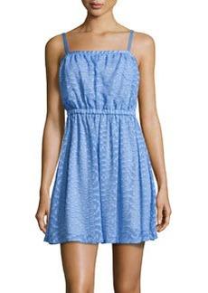 Susana Monaco Jacquard Square-Neck Sleeveless Dress, Neptune