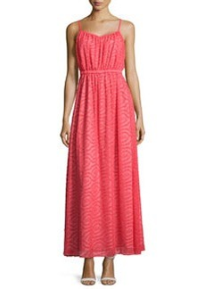 Susana Monaco Jacquard V-Neck Sleeveless Maxi Dress, Morello