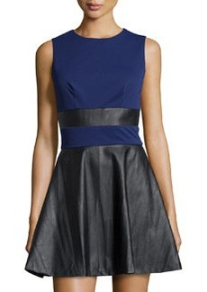 Susana Monaco Jersey & Faux-Leather Flared Dress, Inkwell