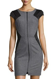 Susana Monaco Jersey & Felt Short-Sleeve Dress, Sidewalk Melange