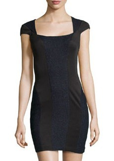 Susana Monaco Jersey & Tweed Short-Sleeve Dress, Midnight/Black