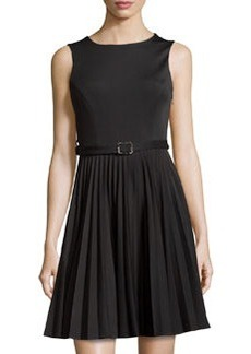Susana Monaco Knit Sleeveless Pleated Dress, Black