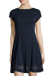 Susana Monaco Laser-Cut Short-Sleeve Fit-and-Flare Dress
