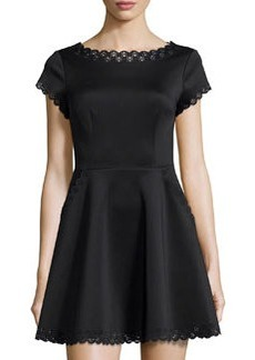 Susana Monaco Laser-Cut Short-Sleeve Fit-and-Flare Dress, Black
