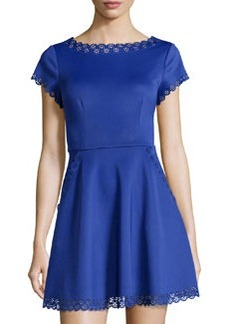 Susana Monaco Laser-Cut Short-Sleeve Fit-and-Flare Dress, Nocturnal