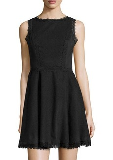 Susana Monaco Laser-Cut Sleeveless Fit-and-Flare Dress