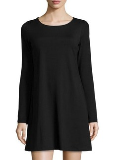 Susana Monaco Long-Sleeve Crewneck Dress
