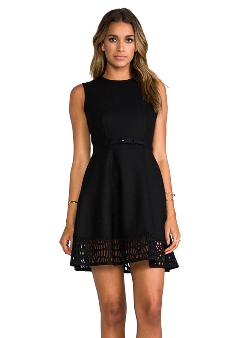 """Susana Monaco Novelty Laser Cut Wool Gemma 17"""" Dress in Black"""